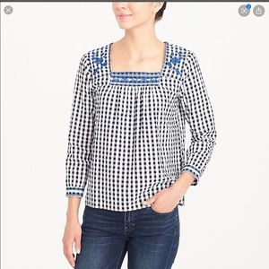 J Crew gingham check embroidered peasant blouse